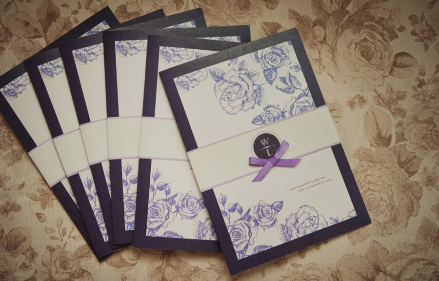 Purple Floral Wedding Invitations