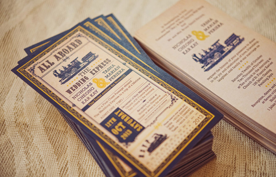 Lovebirds | Train Ticket Wedding Invitations