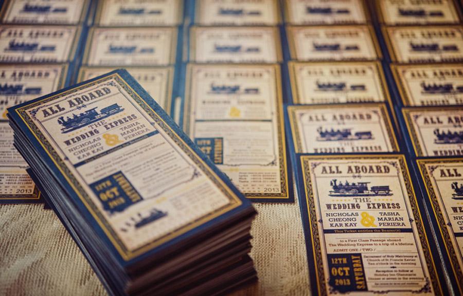 Vintage Train Ticket Wedding Invitation